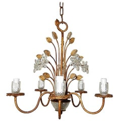 French Maison Baguès Style Flowers and Leaves Gold Chandelier