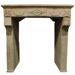 Antique Fireplace Mantel Made of Stone