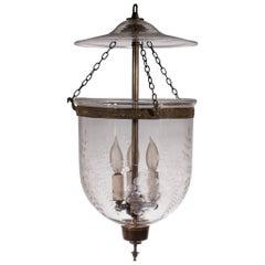 English Bell Jar Lantern with Grape Etching