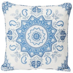 "Schumacher Montecito Medallion II Large-Scale Print Indigo Two-Sided 20"" Pillow"
