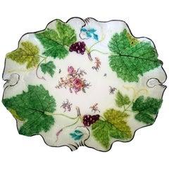 Chelsea Porcelain Red Anchor Period Vine Leaf Botanical Dish, circa 1755-1758