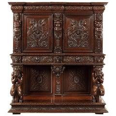 French Renaissance Revival Carved Walnut Dressoir/Cabinet on Stand