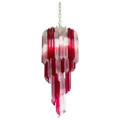 Vintage Murano Chandelier, 54 Quadriedri Ruby Red and Transparent Prism