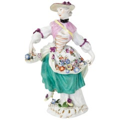 Porcelain Figurine of a Girl with Flowers after Kaendler, Meissen, circa 1750