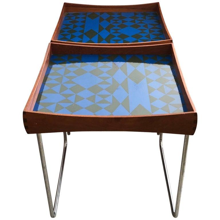 Hermann Bongard Norwegian Enamel Tray Tables For Sale