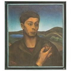 "Amerigo Canegrati, ""Man with Apple"", Oil on Canvas, Italy, circa 1928"