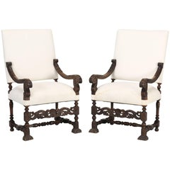 Antique French Pair of Hand-Carved Walnut Throne or Armchairs
