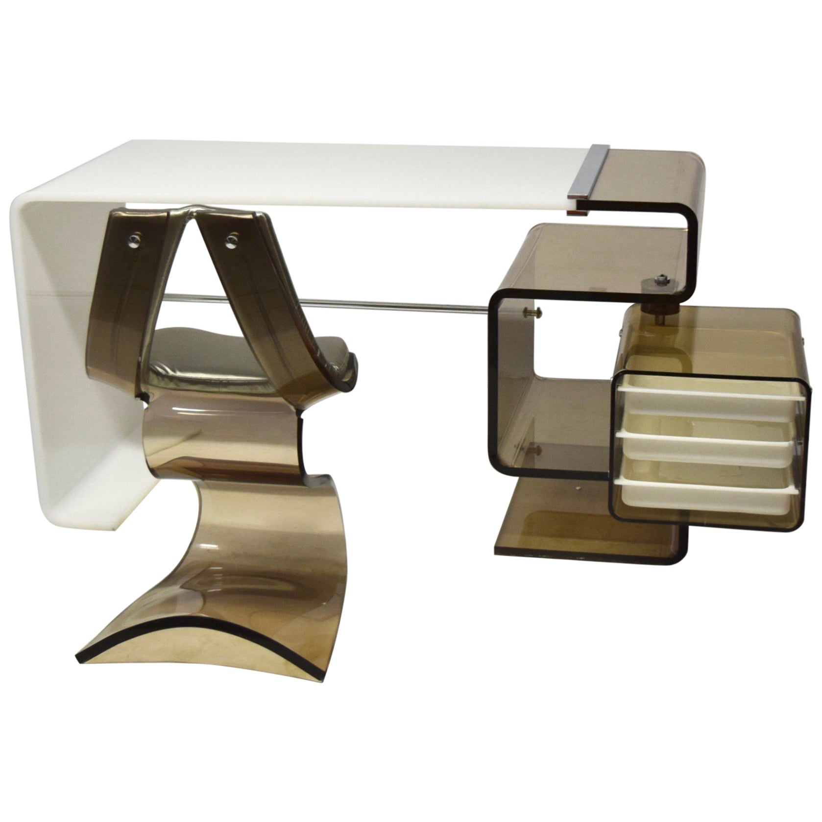 Desk and Chair in Opaque and Smoked Lucite by Rena Dumas made in France 1971