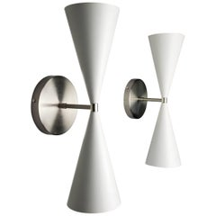 Satin Nickel + White Enamel 'Tuxedo' Wall Sconce by Blueprint Lighting NYC