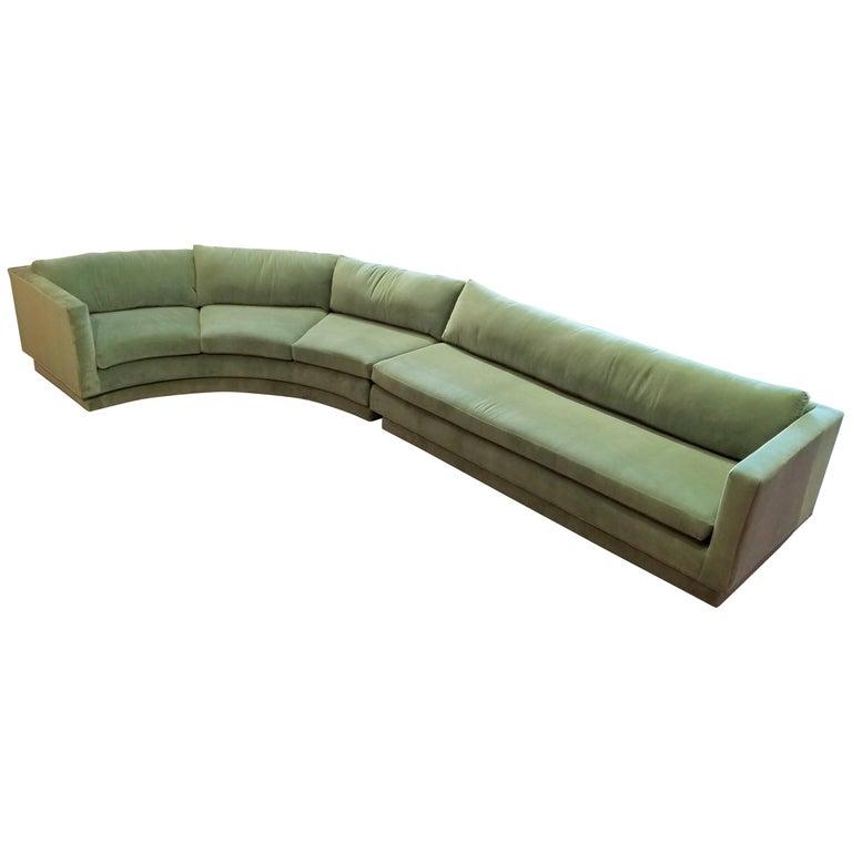 Massive Curved Sofa by Directional Furniture Fully Restored in Celadon Velvet