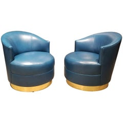 Opulent Swivel Chairs by Karl Springer in Brass and Original Teal Leather, Pair