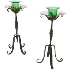 Carlo Rizzarda, Pair of Candleholder, Wrought Iron and Glass, Italy, circa 1900