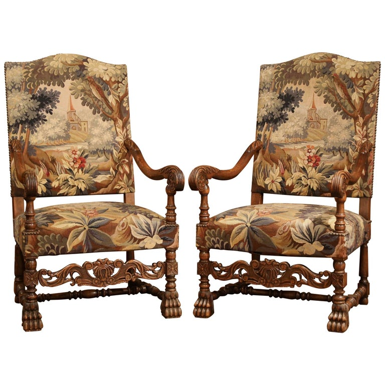 Early 20th Century Pair of French Louis XIII Armchairs with Aubusson Tapestry