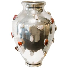 Arrigo Finzi, Important Silver Vase with Gemstones, Italy, circa 1950