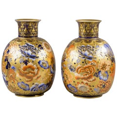 Pair of English Porcelain Imari Pattern Vases, Derby Crown, circa 1890