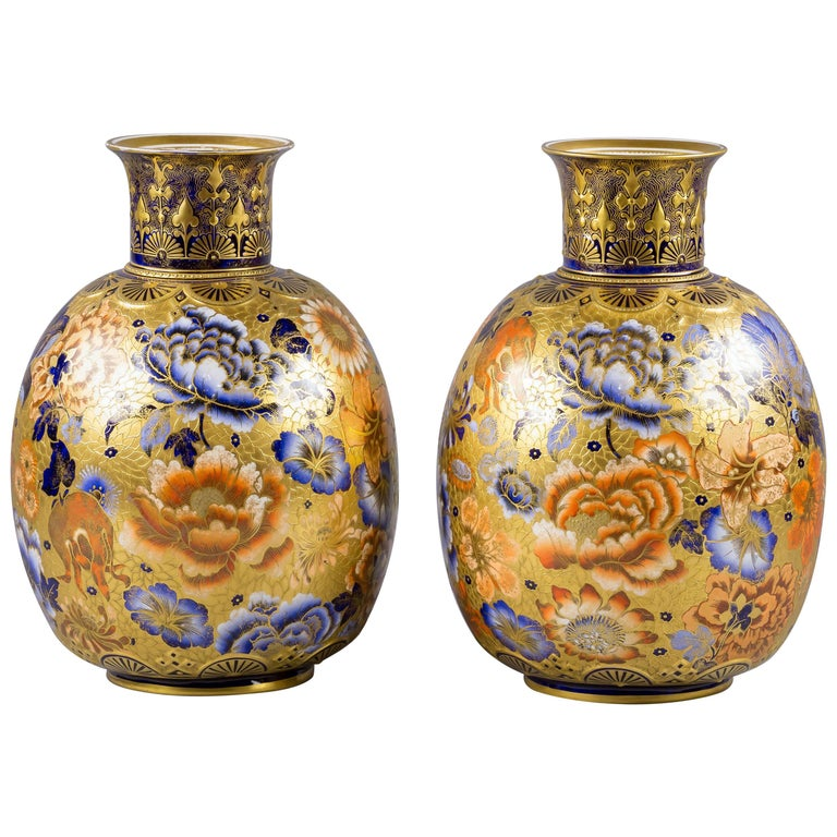 Pair of English Porcelain Imari Pattern Vases, Derby Crown, circa 1890 For Sale