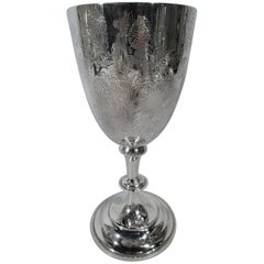 Tall Antique English Edwardian Sterling Silver Wildflower Goblet
