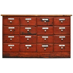 Painted Pine Apothecary Cabinet with 16 Drawers, circa 1900