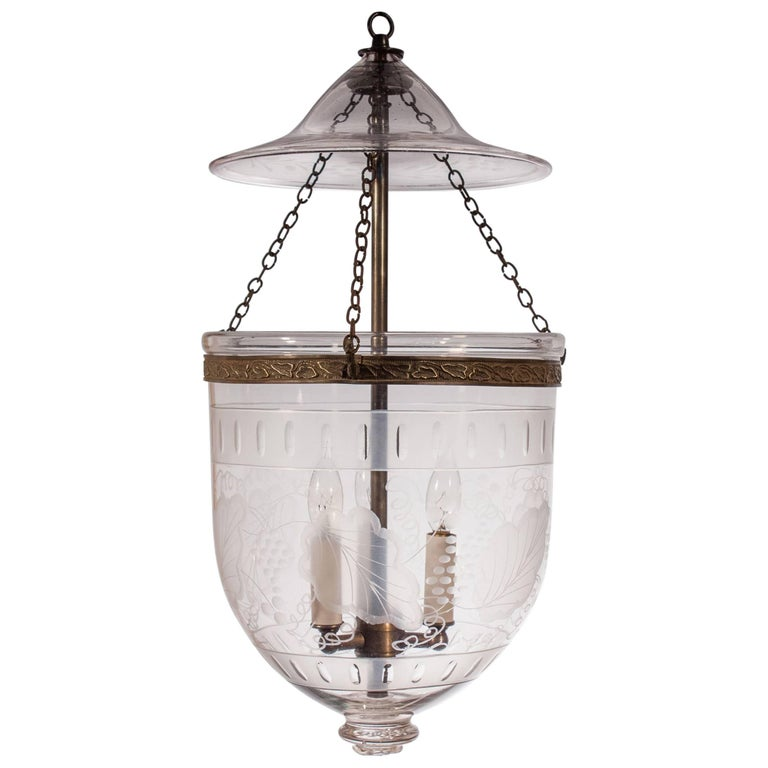 English Bell Jar Lantern with Frosted Etching