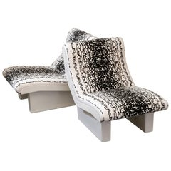 Pair of White Fiberglass Lounge Chairs, France, 1980s
