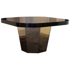 Flair Edition Palisander Marquetry and Brass Center or Dining Table, Italy