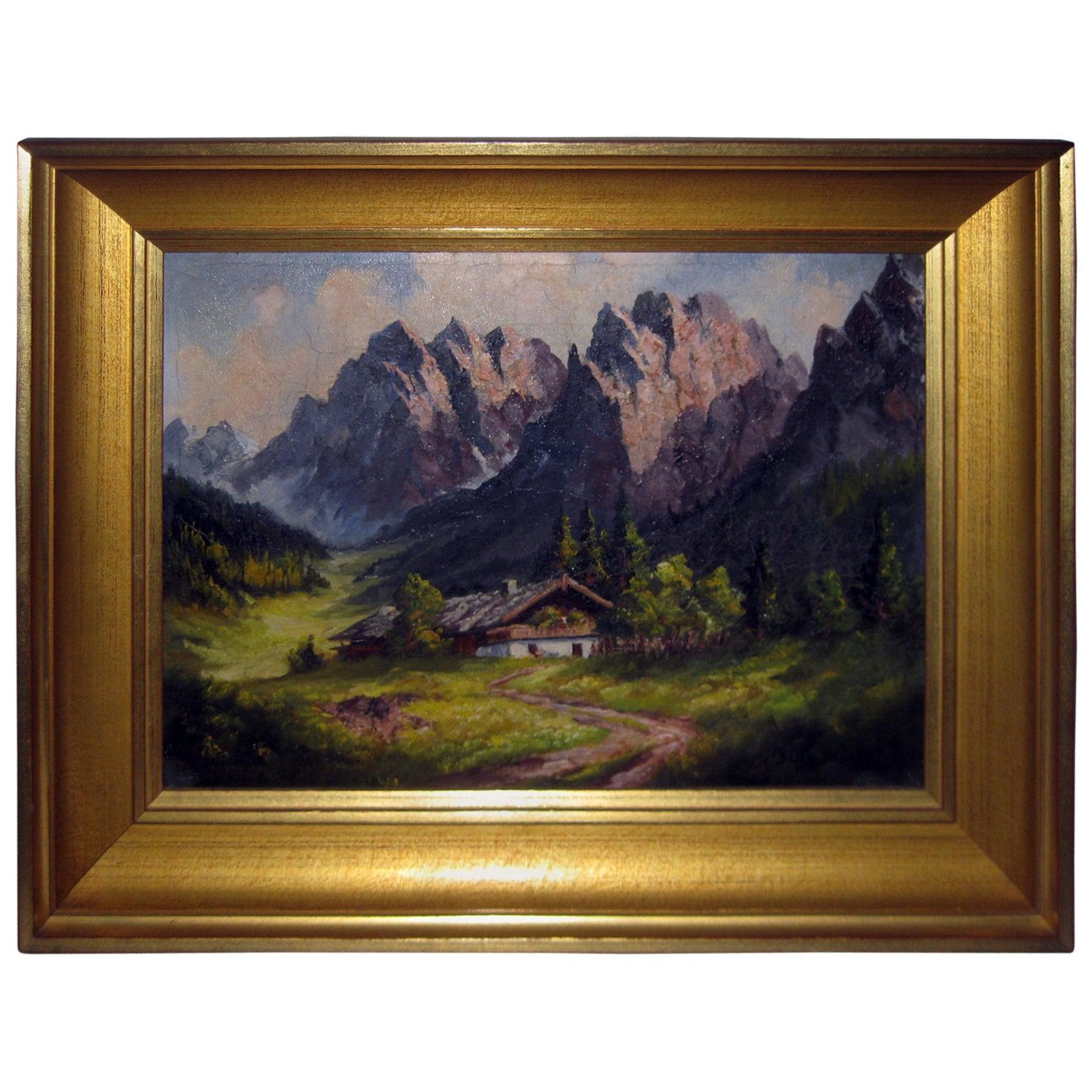 19th century Oil Painting Seealpsee, Switzerland