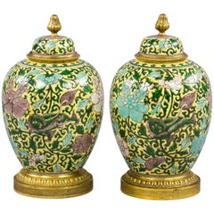 Pair of Bronze-Mounted Chinese Famille Jaune Covered Jars, circa 1875