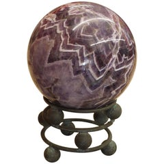 10 Pound Amethyst Sphere on Vintage Bronze Stand