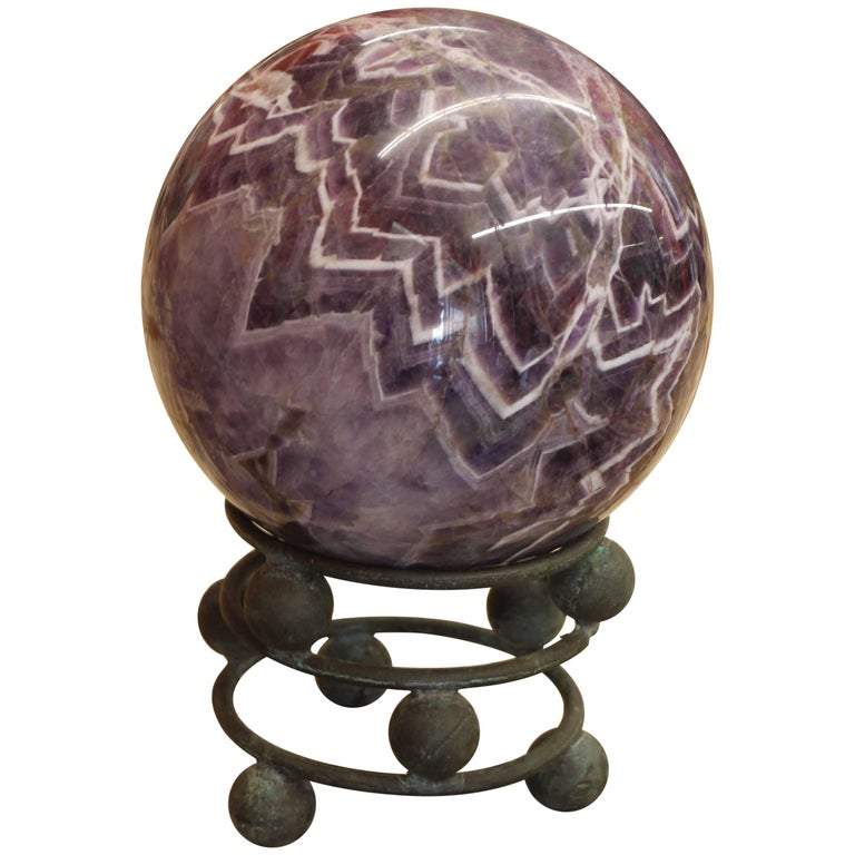10 Pound Amethyst Sphere on Vintage Bronze Stand For Sale