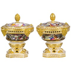 Pair of English Porcelain Covered Potpourri Urns, Derby, circa 1820