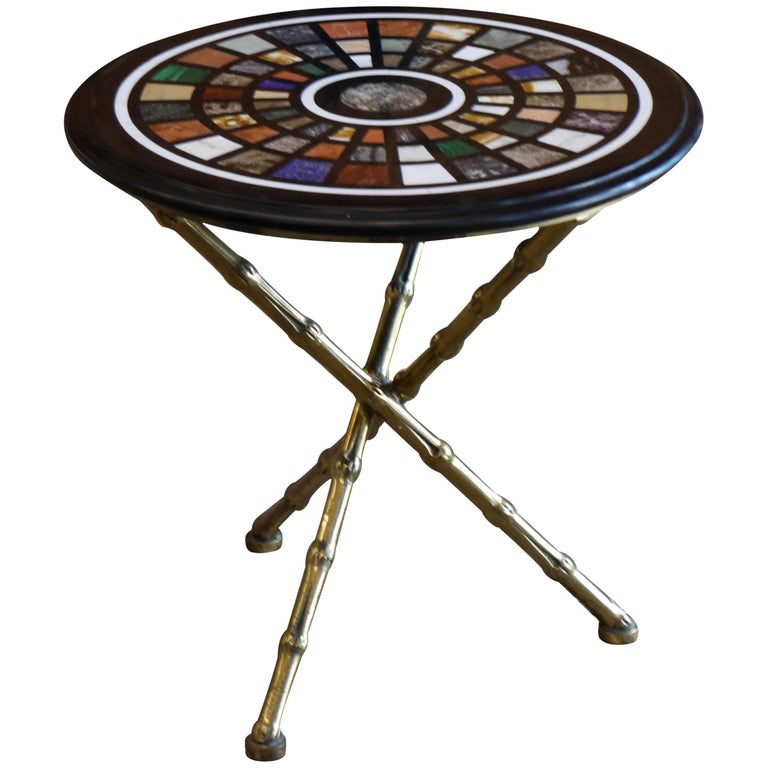 Maison Bagues Tripod Side Table with Specimen Marble Top For Sale