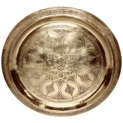 Moroccan Polished Round Brass Tray