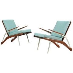 Mid-Century Modern Teak and Steel Lounge Chairs