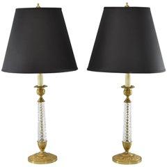 Pair of Cut-Glass and Embossed Metal Boudior Lamps