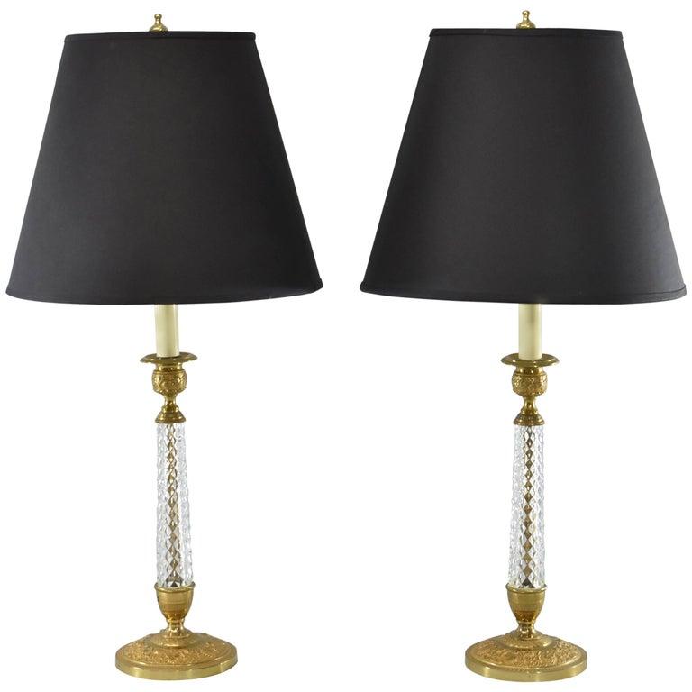 Pair of Cut-Glass and Embossed Metal Boudior Lamps For Sale