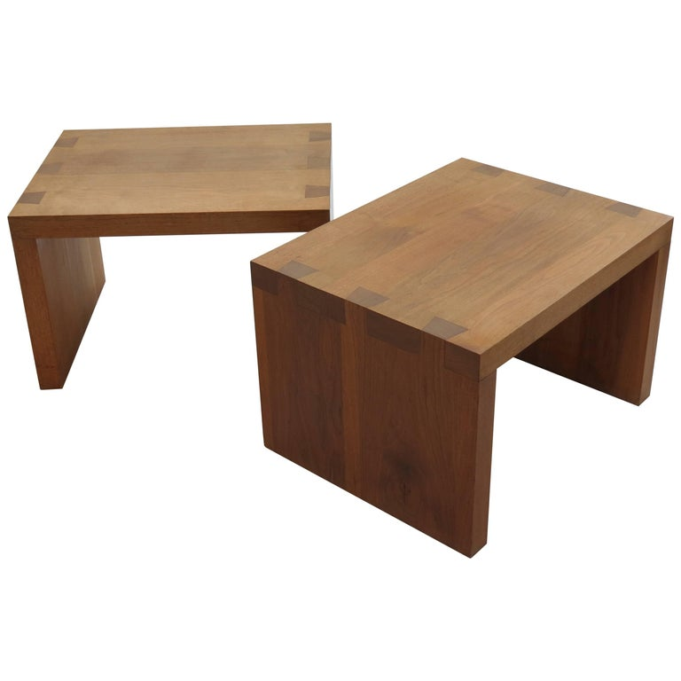 Pair of Bespoke Walnut Tables with Dovetail Joint Detail