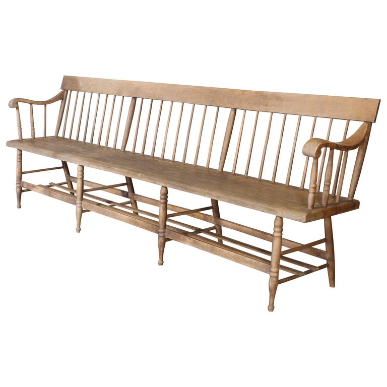 Distressed Windsor Deacon's Wooden Bench