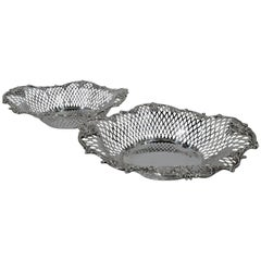 Pair of Antique American Edwardian Sterling Silver Baskets