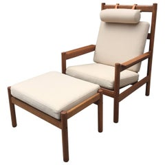 Rare Vintage Danish Teak Armchair and Ottoman with Leather Straps