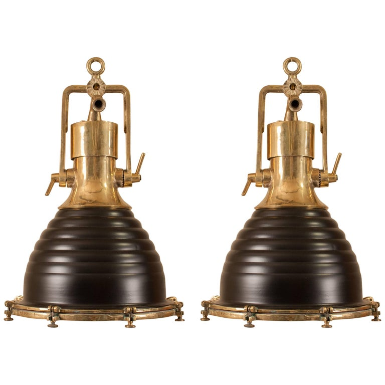 Pair large maritime brass and metal pendants at 1stdibs pair of brass and black maritime pendant lights aloadofball Images