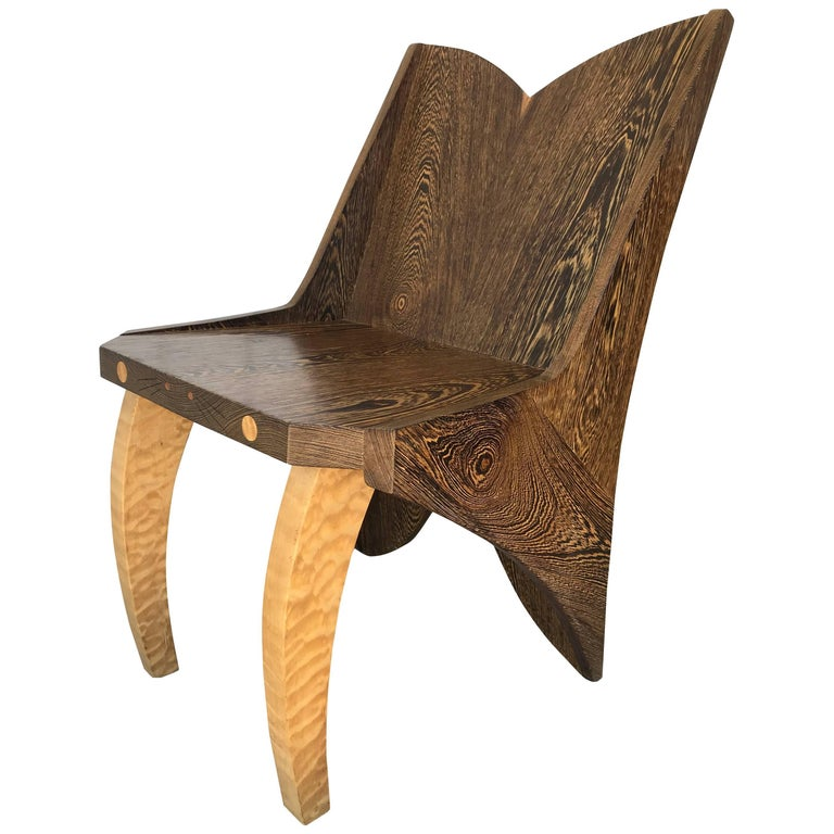 Butterfly Solid Wenge and Zebra Wood Chair For Sale