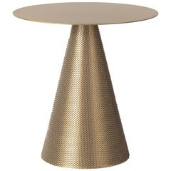Contemporary Armour Cone Side Table in Satin Brass with Chainmail