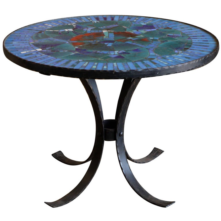 1950s Italian Forged Iron and Vitreous Glass Mosaic Table For Sale