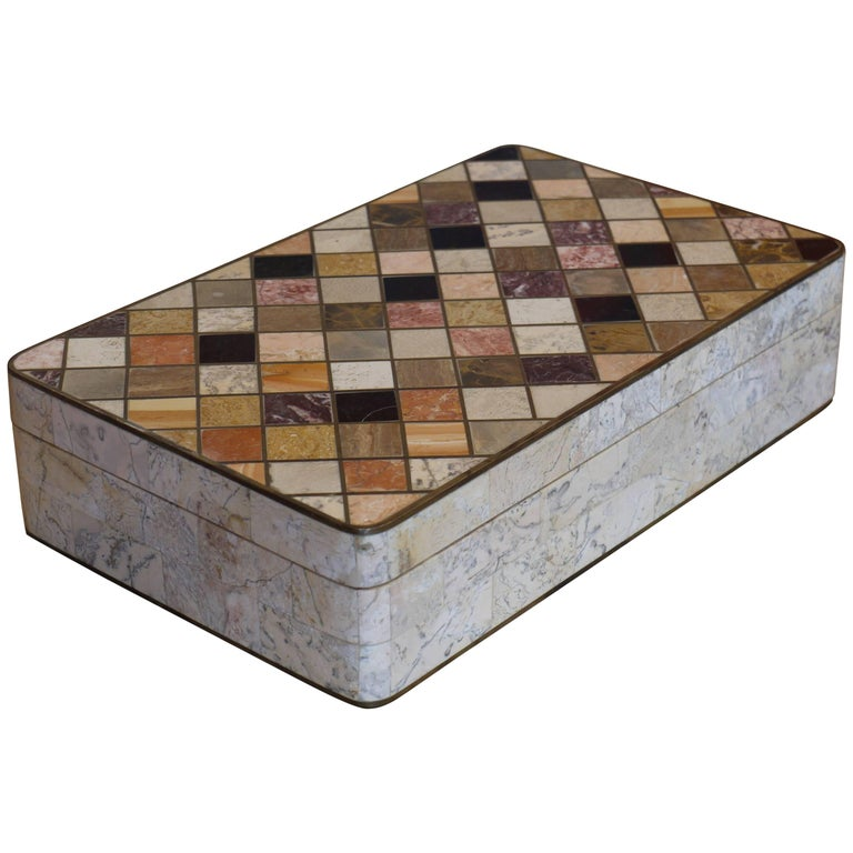 Specimen Marble Box by Maitland Smith For Sale