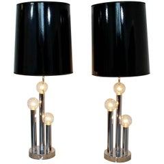 Mid-Century Modern Robert Sonneman Pair of Chrome Three Bulb Table Lamps 1970s