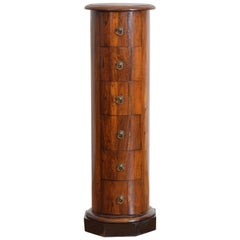 Italian Neoclassical Period Walnut Six-Drawer Column-Form Pedestal