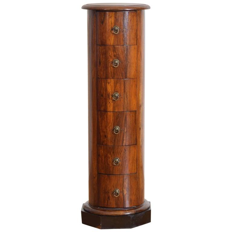 Italian Neoclassical Period Walnut Six-Drawer Column-Form Pedestal
