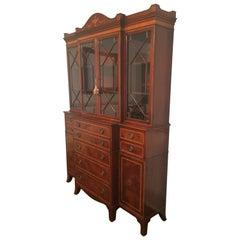 Superb Vintage Hepplewhite Style Mahogany Breakfront Secretary Cabinet