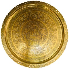 Burma Large Round Brass Tray with Royal Court Life Scene