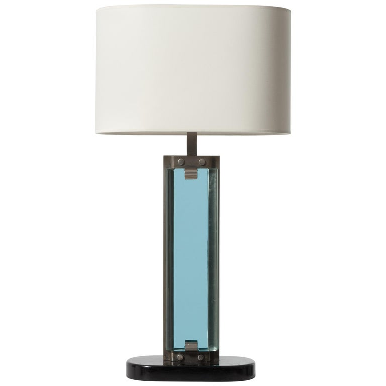 Italian High Vintage Table Lamp Wood Metal and Thick Glass by Fontana Arte, 1940
